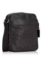 COACH Men 11741 Signature Crossgrain Embossed Flight Bag Black