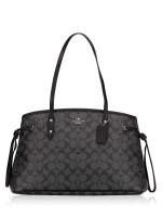 COACH 57842 Signature Drawstring Carryall Black Smoke