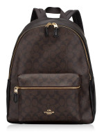 COACH 58314 Signature Charlie Backpack Brown Black