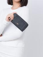 COACH 54007 Crossgrain Leather Zip Wallet Black