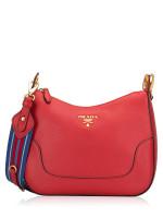PRADA 1BC052 Vitello Daino Shoulder Bag Rosso