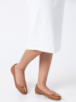TORY BURCH Claire Tumbled Leather Flats Royal Tan Sz 8