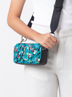 MARC JACOBS 3D Painted Flowers Snapshot Small Camera Bag Turquoise Multi