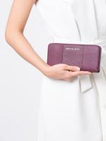 MICHAEL KORS Jet Set Travel Micro Stud Zip Wallet Plum