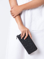 COACH 58113 Signature Crossgrain Zip Wallet Black