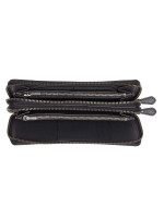 COACH 23334 Crossgrain Double Zip Travel Wallet Black
