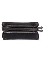 COACH 23334 Crossgrain Double Zip Travel Wallet Black