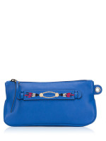 LONGCHAMP 3D Massai Leather Clutch Blue