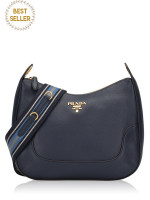 PRADA 1BC052 Vitello Daino Shoulder Bag Baltico