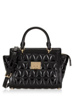 MICHAEL KORS Vivianne Quilted Patent Small Top Zip Messenger Black