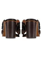 COACH Tea Rose Leather Mules Black Multi Sz 7