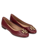 TORY BURCH Claire Tumbled Leather Flats Red Agate Sz 7