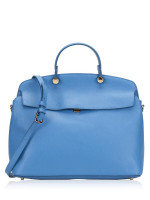 FURLA My Piper Leather Medium Top Handle Celeste