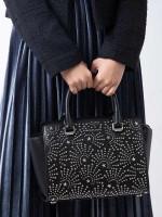 MICHAEL KORS Selma Studded Medium Leather Satchel Black Silver Star
