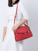 MICHAEL KORS Bristol Studded Leather Medium Top Handle Bright Red
