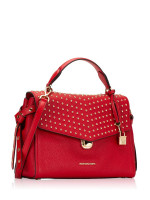 MICHAEL KORS Bristol Studded Leather Medium Top Handle Bright Red
