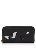COACH Men 86765 Varsity Patches Leather Zip Wallet Black