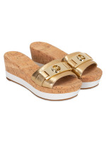 MICHAEL KORS Warren Leather Platform Metallic Pale Gold  Sz 6.5