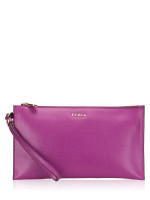 FURLA Babylon Leather Zip Clutch Bougenville