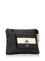 FURLA Mughetto Leather Zip Clutch Onyx