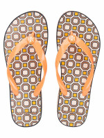TORY BURCH Printed Cut Out Wedge Flip Flops Melon Pink Octagon Sz 7