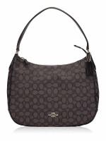 COACH 29959 Outline Signature Zip Shoulder Bag Black Smoke