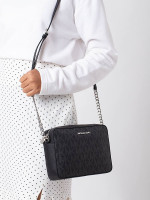 MICHAEL KORS Jet Set Item Monogram Large Crossbody Black Silver