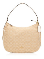 COACH 29959 Outline Signature Zip Shoulder Bag Light Khaki Chalk