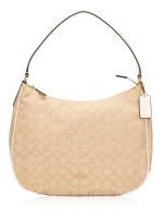 COACH 29959 Outline Signature Zip Shoulder Bag Light Khaki Chalk