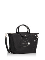 LONGCHAMP Le Pliage Cuir Etoiles Medium SH Black
