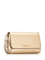 MICHAEL KORS Jet Set Item Medium Saffiano Pouchette Crossbody Pale Gold