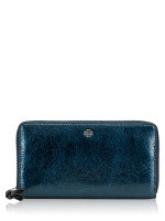 TORY BURCH Crinkle Metallic Leather Zip Wallet True Navy