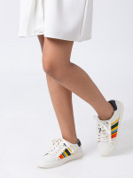 TORY SPORT Ruffle Leather Sneakers Ivory Stripe Sz 6.5