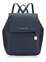 MICHAEL KORS Hayes Leather Medium Backpack Navy Dark Khaki
