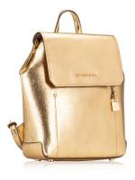 MICHAEL KORS Hayes Embossed Leather Medium Backpack Pale Gold Dark Khaki