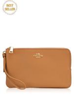 COACH 87587 Pebble Leather Double Zippy Wallet Light Saddle