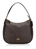 COACH 29209 Signature Zip Shoulder Bag Brown Black