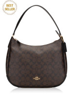 COACH 29209 Signature Zip Shoulder Bag Brown Black