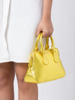 BALLY Dainty Small Leather Satchel Metallic Yellow