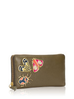 FOSSIL SL7549382 Caroline Leather Zip Wallet Rosemary