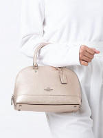 COACH 29170 Metallic Leather Mini Sierra Satchel Platinum