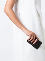 BALLY Tenley Stripe Zip Card Holder Black