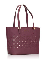 MICHAEL KORS Jet Set Perforated Small Violet Tote Plum