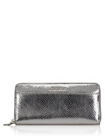 MICHAEL KORS Money Pieces Embossed Leather Zip Wallet Light Pewter