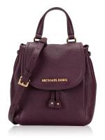 MICHAEL KORS Riley Leather Small Flap Pack Crossbody Damson