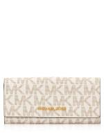MICHAEL KORS Jet Set Monogram Carryall Flap Wallet Vanilla Acorn