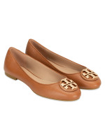 TORY BURCH Claire Tumbled Leather Flats Royal Tan Sz 7