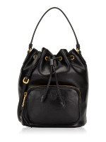 PRADA 1BH038 Glaze Calf Bucket Bag Nero
