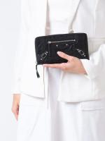 BALENCIAGA Classic Silver Zip Wallet Black