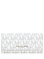 MICHAEL KORS Jet Set Monogram Flap Wallet Navy White